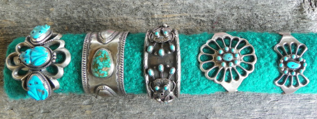 Turqouise and silver cuff bracelets - The Lost American Art Gallery