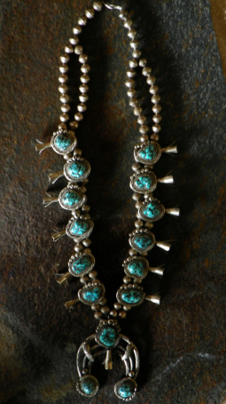 Turqouise necklace with handmade beads and sterline silver - The Lost American Art Gallery