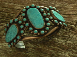 Persian turqouise cuff bracelet sterling silver - The Lost American Art Gallery